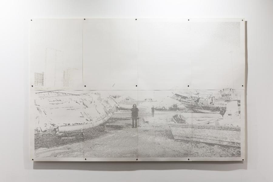 Jerry B. Martin, The X marks the spot, 2019, dibujo hecho transcribiendo un texto con máquina de escribir sobre papel caligráfico.,150 x 229 cm. Cortesía: Revolver, Lima