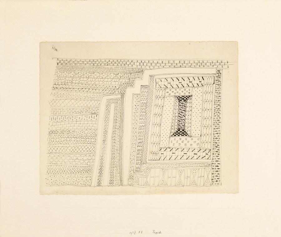 Paul Klee, Teppich (Alfombra), 1927, bolígrafo sobre papel sobre cartón, 23 x 30 cm. Colección Privada de Hans Snoeck, Nueva York. Foto: Edward Watkins