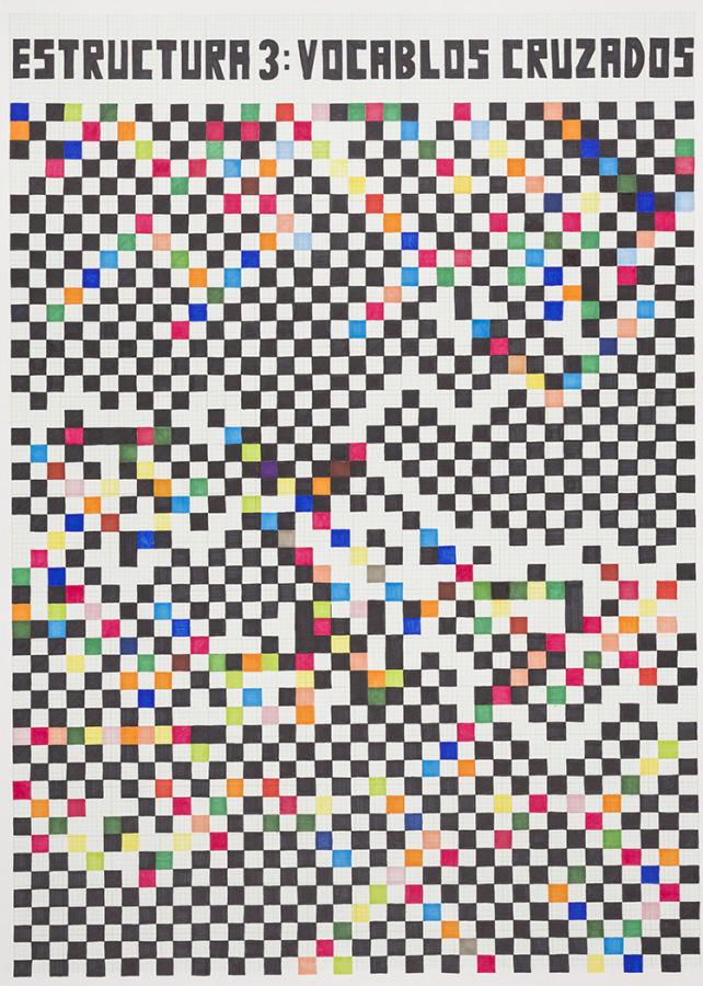 Teresa Burga, Blanca Varela (Estructura 3: Vocablos cruzados), 1974 – 2018, plumones copic sobre papel de algodón, 101 x 72 cm. Edición de 3 + 2AP. Cortesía: 80M2 Livia Benavides