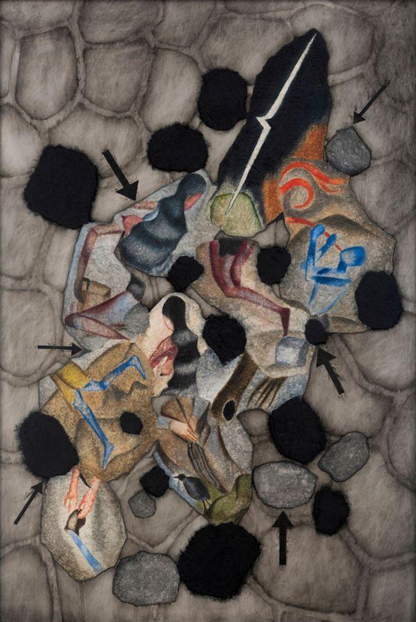 Atul Dodiya, Black Petals –V, 2018, técnica mixta, 183 x 122. Cortesía: Galerie Templon, París/Bruselas
