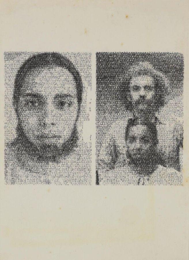 Jerry B. Martin, Mendieta/Wiam II, 2018, dibujo hecho a máquina con transcripciones de texto sobre papel, 37 x 30 x 3,5 cm. Cortesía del artista y Revolver Galería, Lima