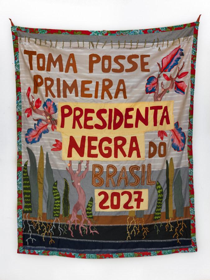 Randolpho Lamonier, 'Profecias', 2018, costura y bordado en tela. Cortesía: Periscopio Gallery