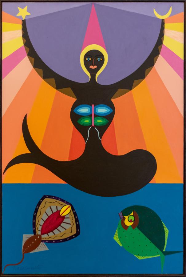 Abdias Nascimento, Oxunmaré Ascende (Buffalo, 1971), acrílico sobre tela, 102 x 152 cm. Cortesía: IPEAFRO