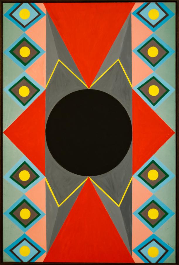Abdias Nascimento, Ideograma Adinkra (Rio de Janeiro, 1992), acrílico sobre tela, 100 x 150 cm. Cortesía: IPEAFRO