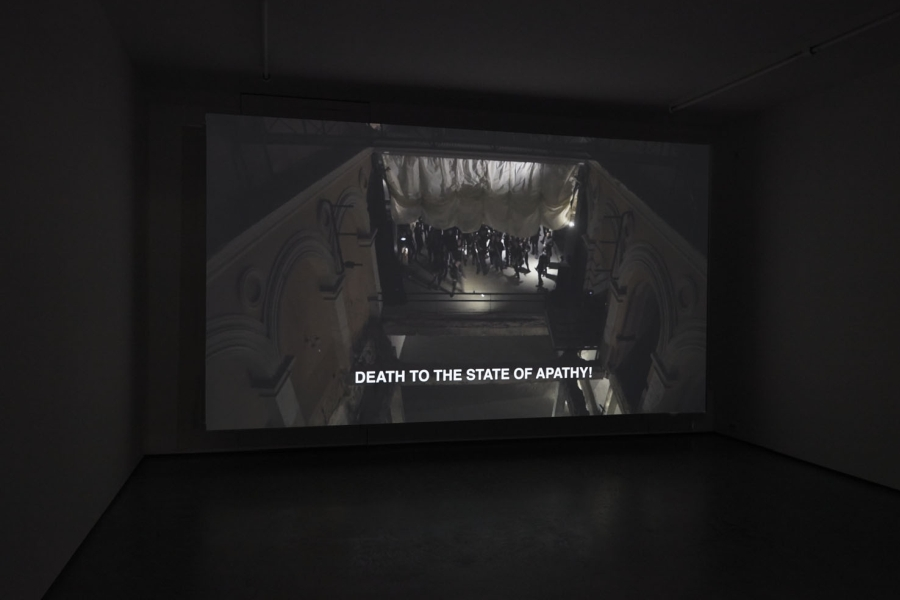"""Ana Maria Montenegro Jaramillo, The Raven Paradox, 2018, video, 23' 9''. Installation view of """"Rivers flow out of my eyes"""", at tegenboschvanvreden, Amsterdam, 2019. Courtesy of the gallery"""
