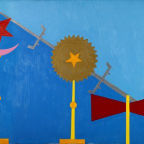 Abdias Nascimento, Quarteto Ritual n°2, acrílico sobre tela, 61 x 91 cm. Búfalo, EEUU, 1971. Cortesía: IPEAFRO