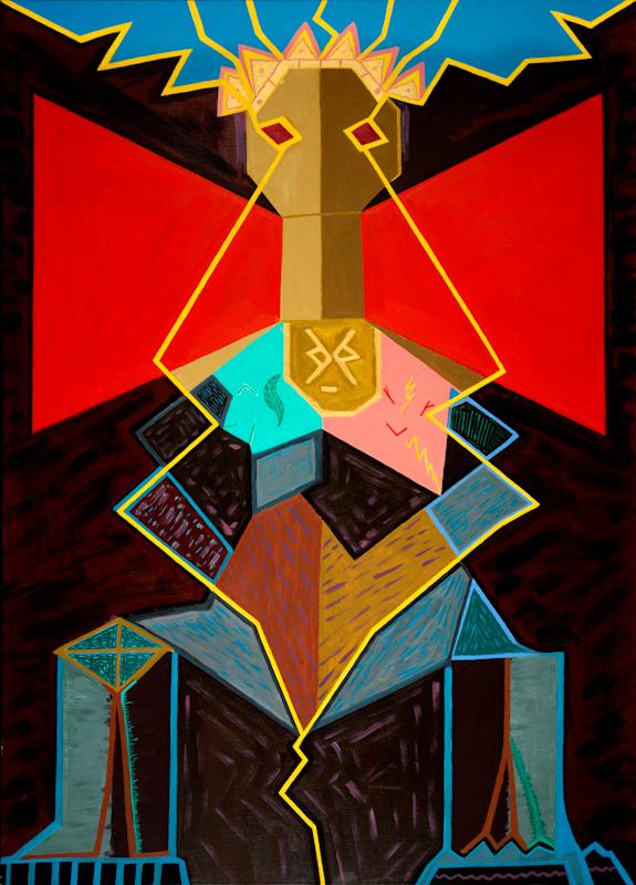 Abdias Nascimento, Xangô Rei, acrílico sobre tela, 140 x 100 cm. Rio de Janeiro, 1998. Cortesía: IPEAFRO