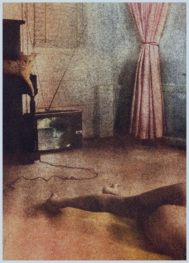 Victoria Cabezas, Mujeres, gatos y televisores, 1983, serie de grabados bicromáticos de goma. Cortesía de la artista