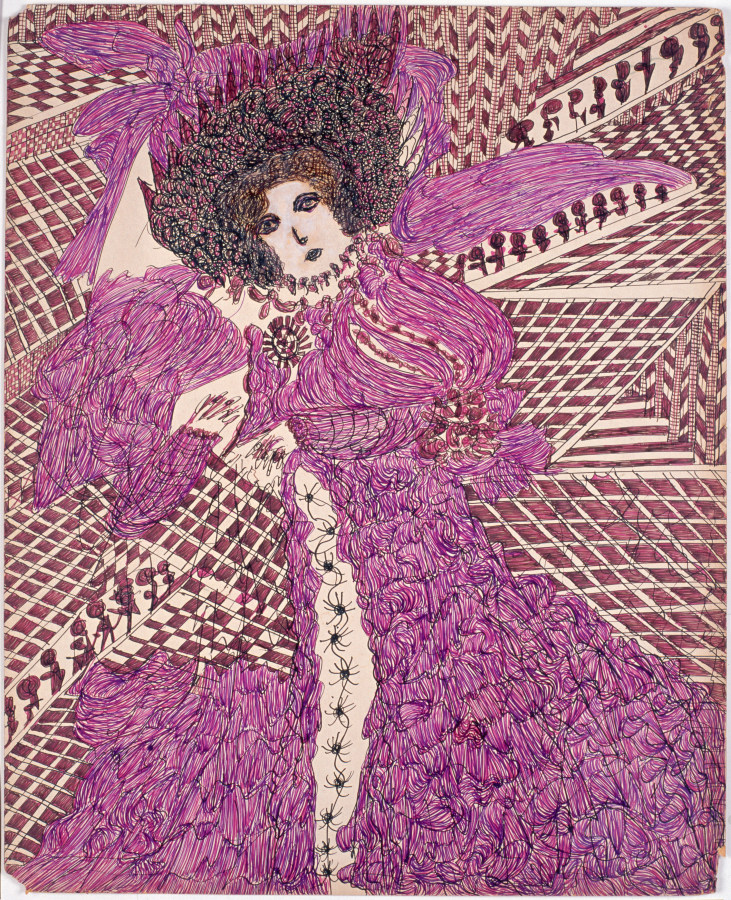 Madge Gill, Sin título, 1954. Tinta de color y gouache sobre cartón, 102 x 70 cm. Colección LAM-Lille Métropole Musée d'art modern, d'art contemporain et d'art brut, Villeneuve d'Ascq. Donación de L'Aracine, 1999. © Fotografía: Alain Lauras
