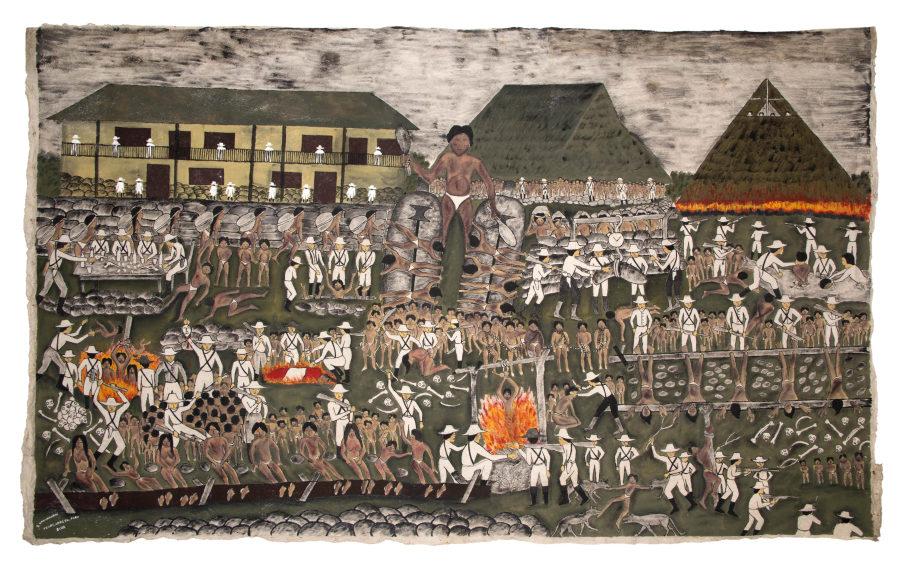 Santiago Yahuarcani López, El corazón de los barones del caucho, 2012, tintes naturales sobre corteza vegetal, 123 x 208 cm. Colección MALI