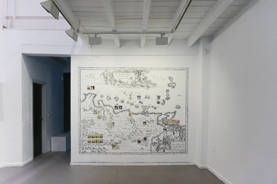 Iván Candeo, Mapa de Venezuela y de la provincia de Nueva Andalucía, 2019. Vista de la exposición en Alarcón Criado, Sevilla, España. Foto cortesía del artista