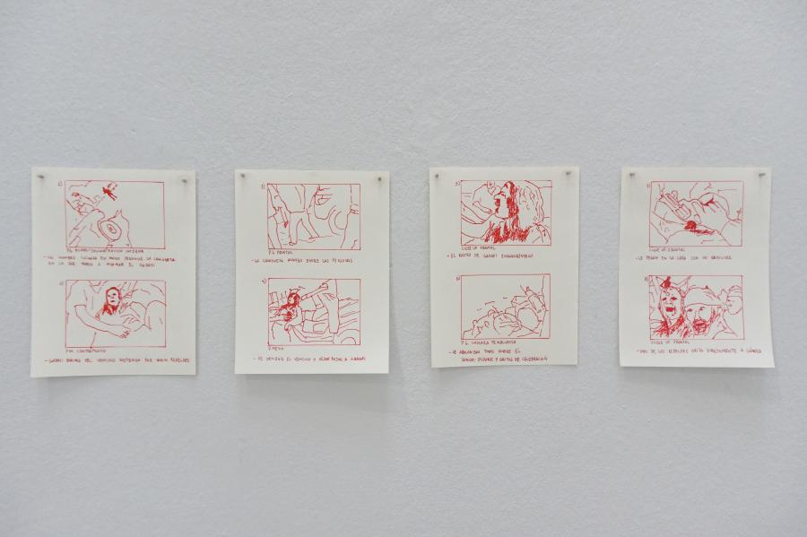 Iván Candeo, La muerte de Muamar el Gadafi. Storyboards, 2019. Vista de la exposición en Alarcón Criado, Sevilla, España. Foto cortesía del artista