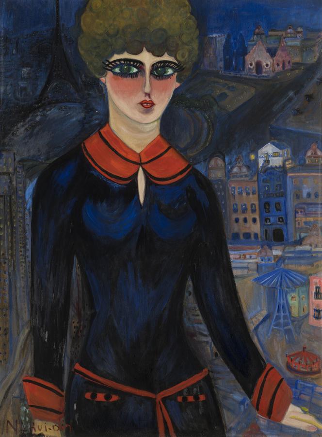 Carmen Mondragón, también conocida como Nahui Olin, Autorretrato como colegiala en París,1928, óleo sobre cartón, 102 x 76 cm. Cortesía Drexel Galería, México