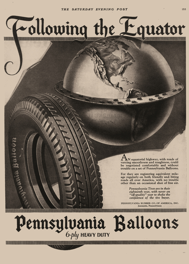 Following The Equator, The Saturday Evening Post, Pennsylvania Balloons, 1926. © Pennsylvania Balloons
