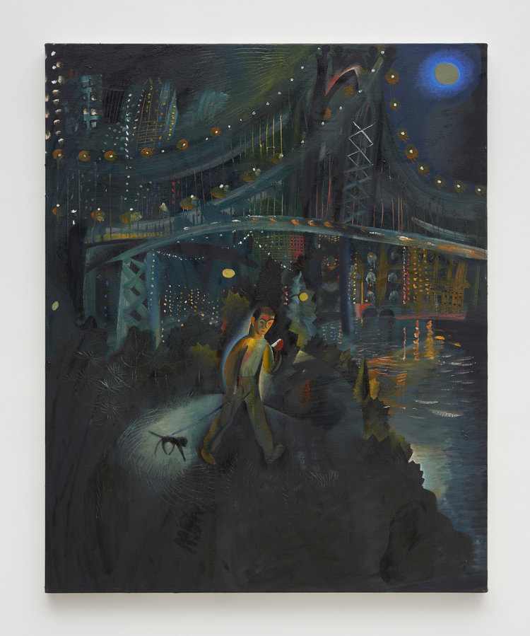Louis Fratino, The Manhattan Bridge, 2019, oil on canvas, 60 x 48 inches (121.9 x 152.4 cm). Courtesy of Sikkema Jenkins & Co.