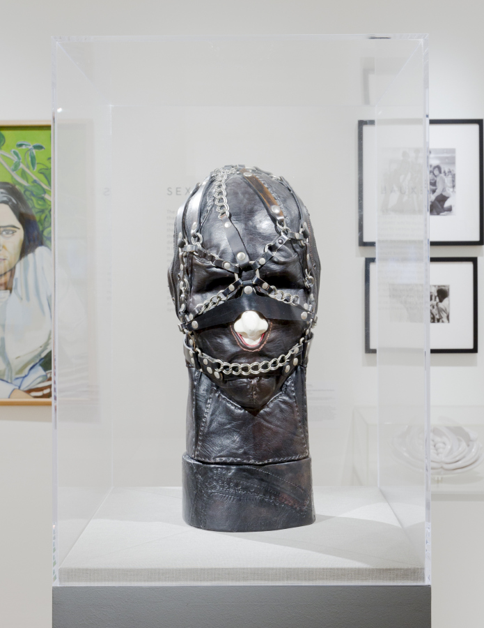 """Nancy Grossman, Untitled (Zygomatic with Chains), 1968-69, mixed media. Exhibition view """"Art after Stonewall, 1969–1989"""", at Leslie-Lohman Museum, New York, 2019. Photo: Kristine Eudey. Courtesy of the Leslie-Lohman Museum"""