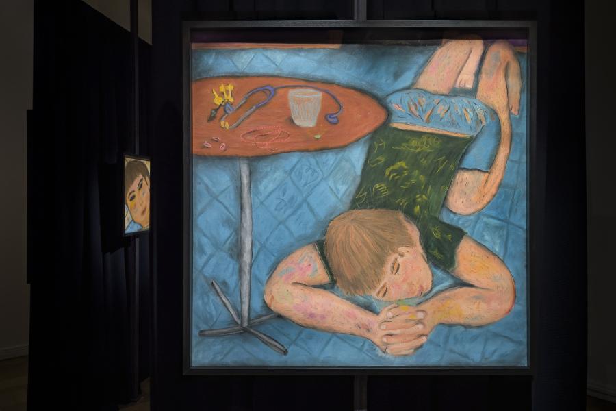 """Vista de la exposición """"En su rodilla un polvo cobrizo"""", de Ulises Mazzucca, en Isabel Croxatto Galería, Santiago de Chile, 2019. Foto cortesía de la galería"""