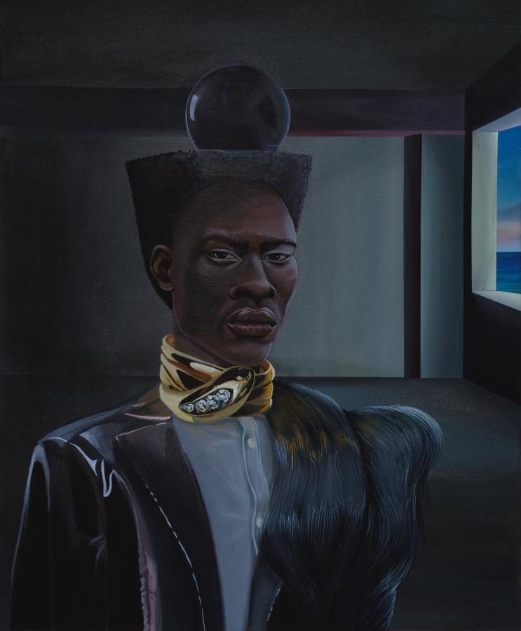 Dalton Gata, A man with a sphere on his head, 2019, acrílico sobre tela, 71.12 x 58.42 cm. Cortesía del artista y Galería Agustina Ferreyra, México © Dalton Gata