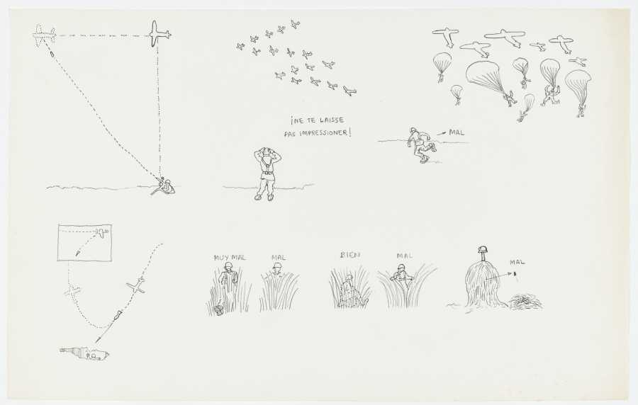 Miralda, Bien/Mal. Pas impressioné, 1966. Pencil on paper. 8 3/8 x 13 3/8 in. (21.3 x 34 cm). Courtesy: HFNY