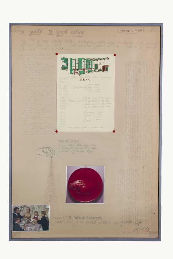 Miralda, A guide to good eating. Colored Aspic, 1974. Collage, pencil, photographs and leaflet. 35 x 24 3/4 in. (89 x 63 cm). Courtesy: HFNY