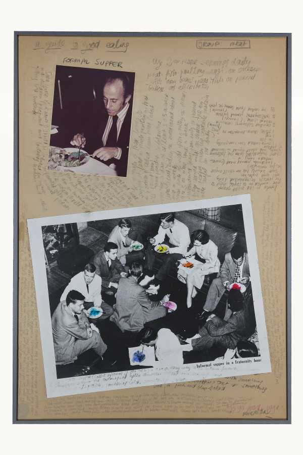 Miralda, A guide to good eating. Formal Supper, 1974. Collage, pencil. photographs and leaflet. 35 x 24 3/4 in. (89 x 63 cm). Courtesy: HFNY