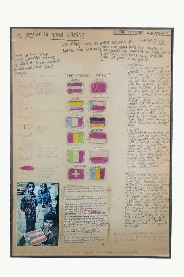 Miralda, A guide to good eating. The Patriotic Rices, 1974. Collage, pencil, watercolor, photographs and leaflet. 35 x 24 3/4 in. (89 x 63 cm). Courtesy: HFNY