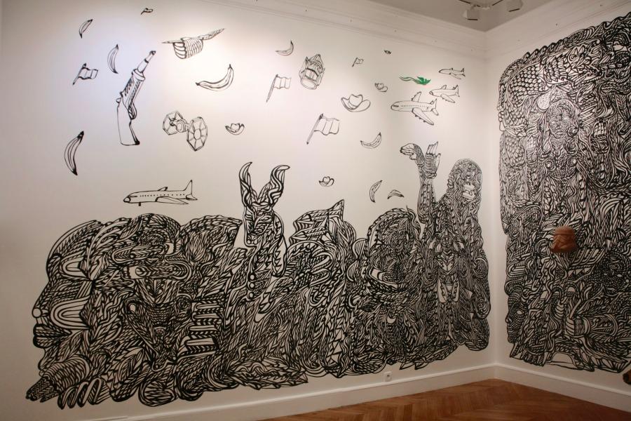 "Vista de la exposición ""Mimesis"", de Marlov Barrios, en La Maison de l'Amérique latine, París, 2019. Foto: ©Luis Felipe Sáenz"
