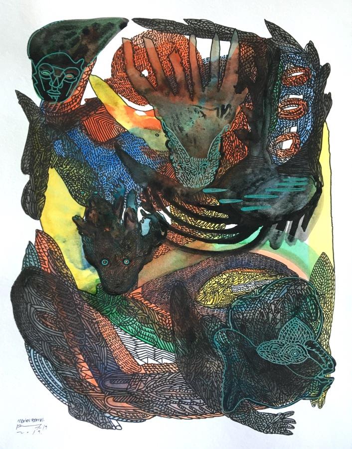Marlov Barrios, Mimesis VI, 2019, técnica mixta sobre papel, 35.5 x 28 cm. Cortesía del artista