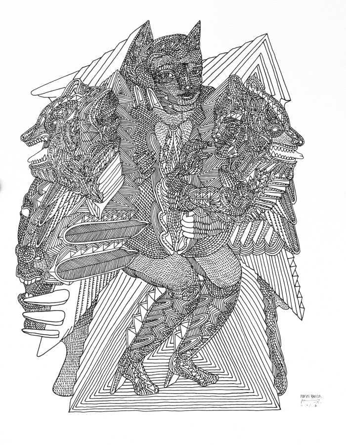 Marlov Barrios, Mimesis I, 2019, técnica mixta sobre papel, 35.5 x 28 cm. Cortesía del artista