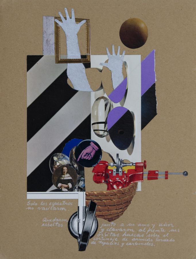 """""""Solo los espectros no vacilaron"""", Hugo Rivera-Scott y Álvaro Donoso, 1973. Colage y escritura sobre cartón ruso. Cortesía MSSA"""