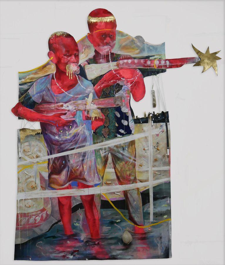 Lavar Munroe, Boys, 2018, medios mixtos sobre tela, 80 x 64 pulgadas. Cortesía del artista y Jack Bell Gallery