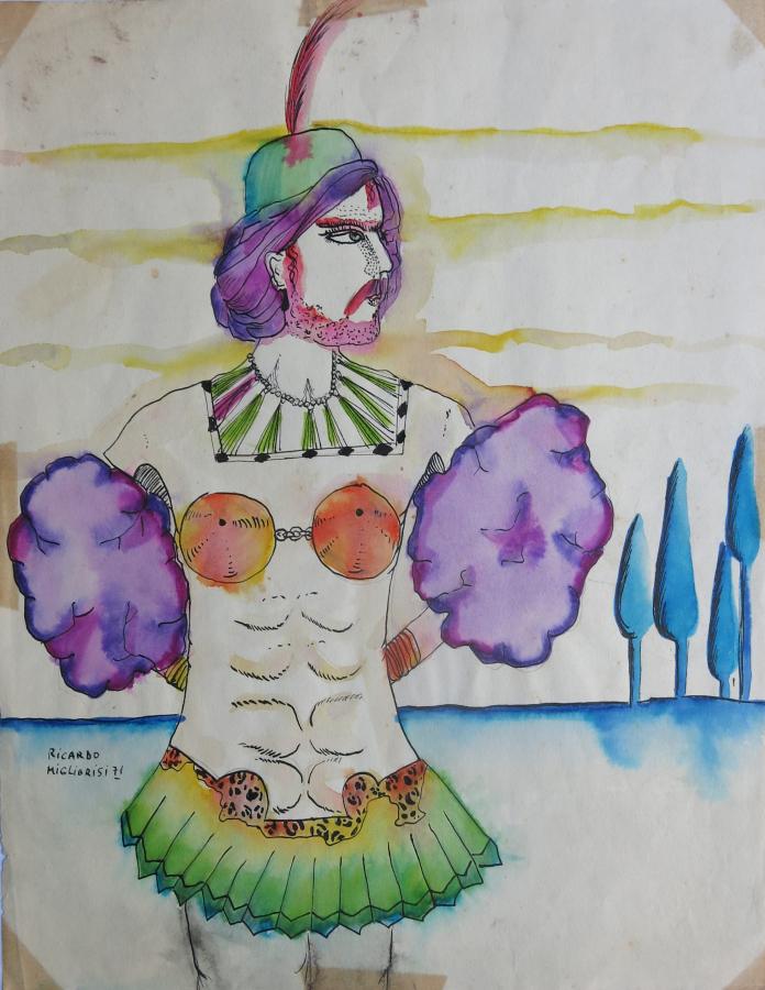 Ricardo Migliorisi, Hombre con pluma en la cabeza y pollera verde, 1971, tinta coloreada sobre papel, 28 x 21.5 cm. Gentileza: galería Herlitzka + Faria