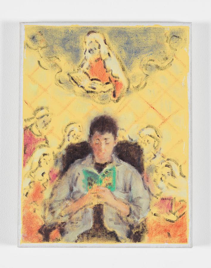 Cosima Zu Knyphausen, Doireanne reading lesbian pulp fiction before Founding Mothers, 2019, pintura vinílica y óleo sobre lino, 30 x 22 cm. Cortesía: Revolver, Lima