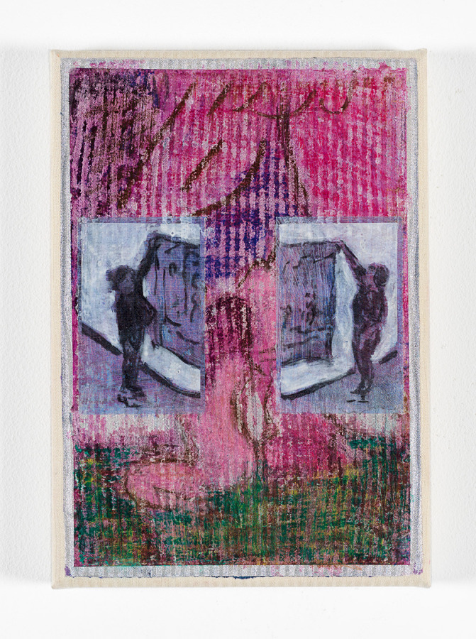 Cosima Zu Knyphausen, Panel, 2019, pastel, acrílico, pintura vinílica y carboncilla sobre algodón, 23 x 16 cm. Cortesía: Revolver, Lima