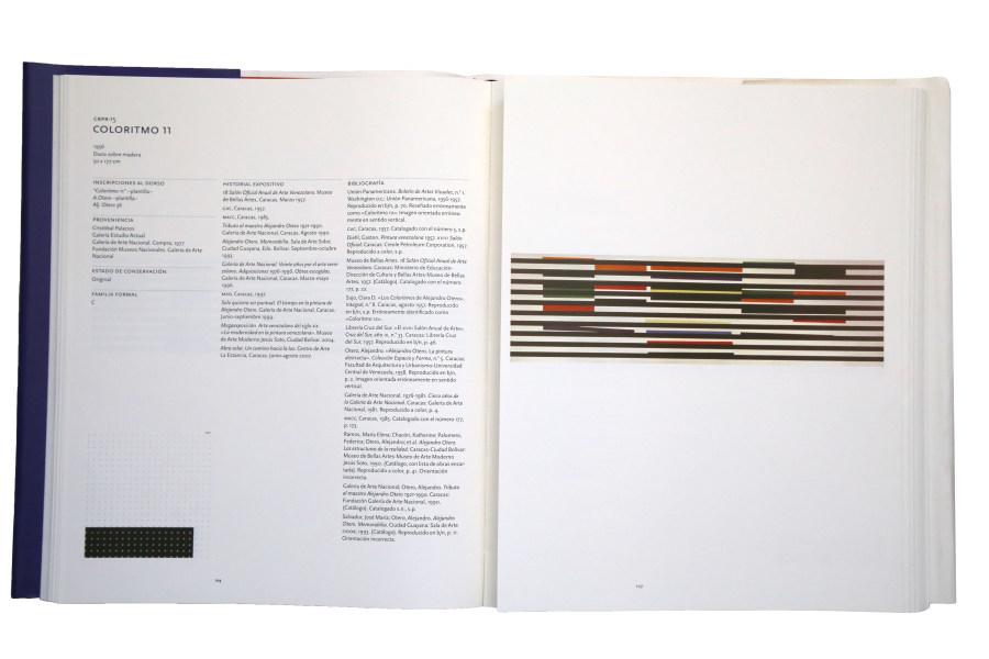 Doble página del Coloritmo 11 en Los Coloritmos de Alejandro Otero. Catálogo razonado. Foto: Rafael Santana
