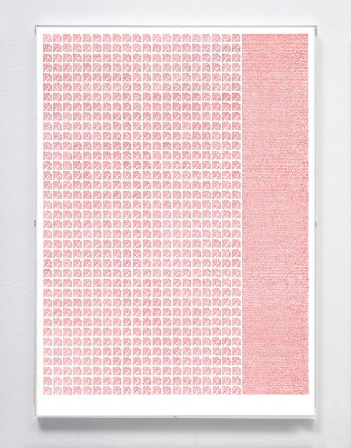 José Vera Matos, Objeto antiguo, objeto marginal, 2019, estilógrafo sobre papel de bambú, 42 x 59,4 cm, enmarcado en plexiglas por el artista. Foto cortesía de Nordenhake, México