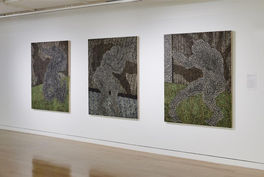"Didier William, ""Lonbraj mwen se kouwon mwen 1 – 3″ (2019), Collage, acrylic, and wood carving on panel. Courtesy: MoAD"
