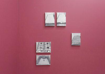 """Obras de Christian Vinck en la exposición """"Pach Pan"""", DiabloRosso, Ciudad de Panamá, 2019. Foto cortesía de la galería"""