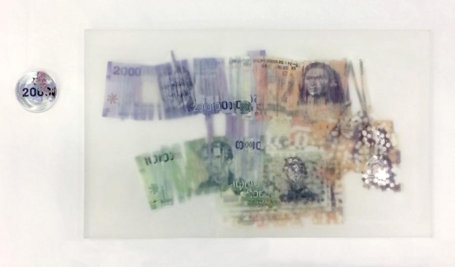 Claudio Correa, Tierras raras, 2019, billetes y papel moneda. Cortesía del artista