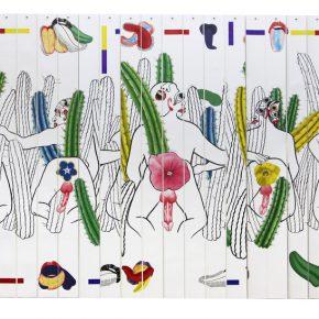 Miguel Angel Rios, San Pedro que estás en los Andes, 2018 – 2019, Cibachrome, 149 x 260 cm. Vista de la exposición en Barro, Buenos Aires, 2019. Cortesía: Barro