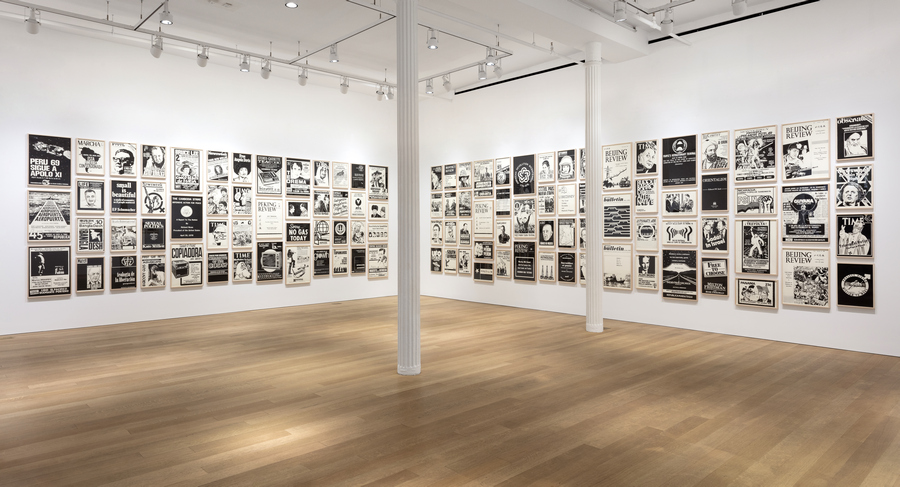 "Installation view: Fernando Bryce's ""The Decade Review"", Alexander and Bonin, New York, 2019. Photo: Joerg Lohse"