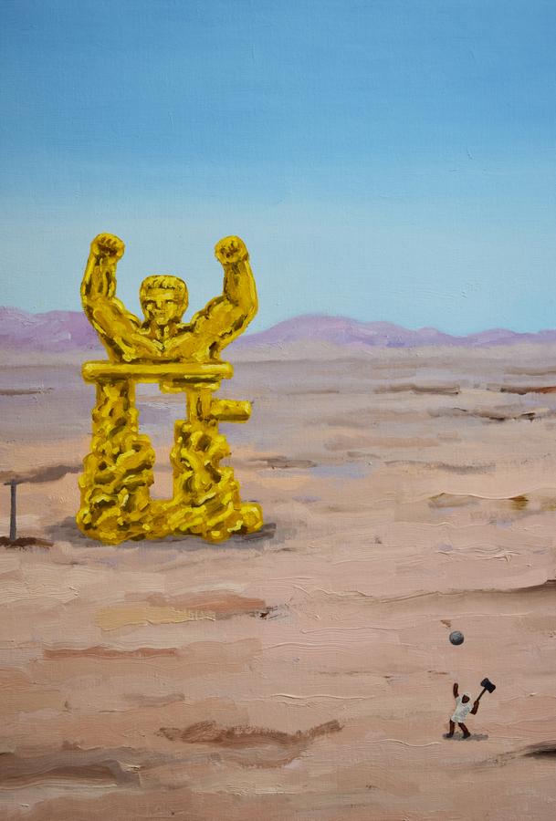 """Camilo Ortega, Campo de juego (detalle), 2019. Vista de la exposición """"Land of Champions"""", en el Centro Cultural de España (CCE) en Santiago, 2019. Cortesía: CCE"""