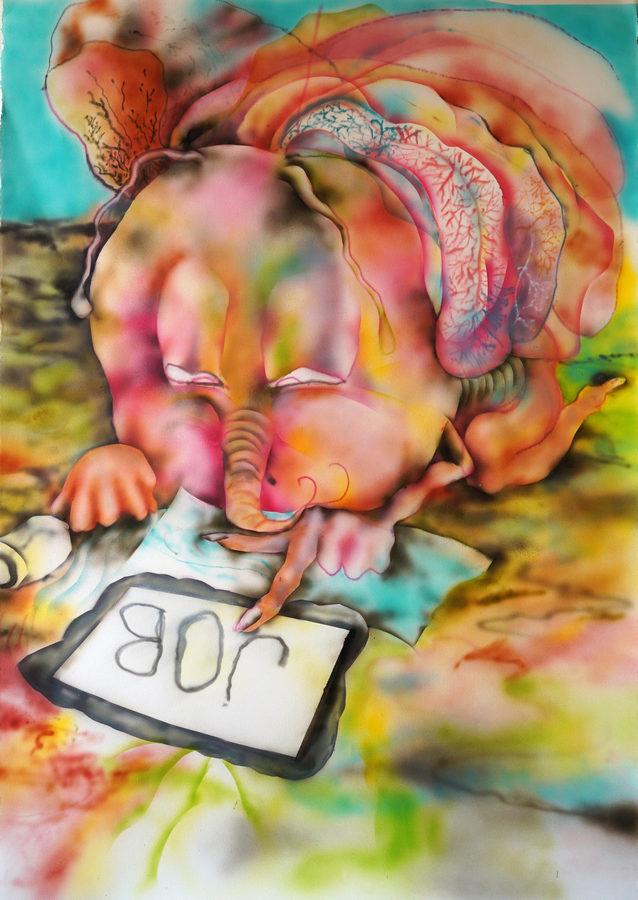 Constanza Giuliani, Mariposa busca trabajo, 2019, acrílico sobre papel, 112 x 77 cm. Cortesía de la artista y Piedras Galería