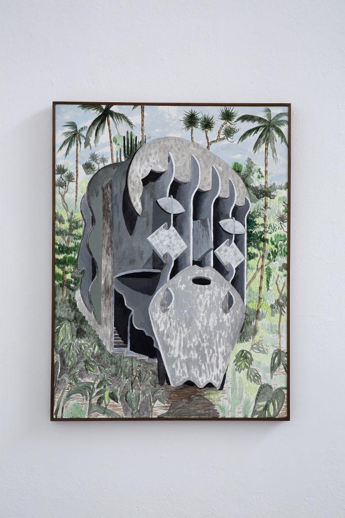 Pedro Reyes, La Caverna de Platón, acrílico sobre tela, 120 x 90 x 2 cm. Foto: Ramiro Chaves