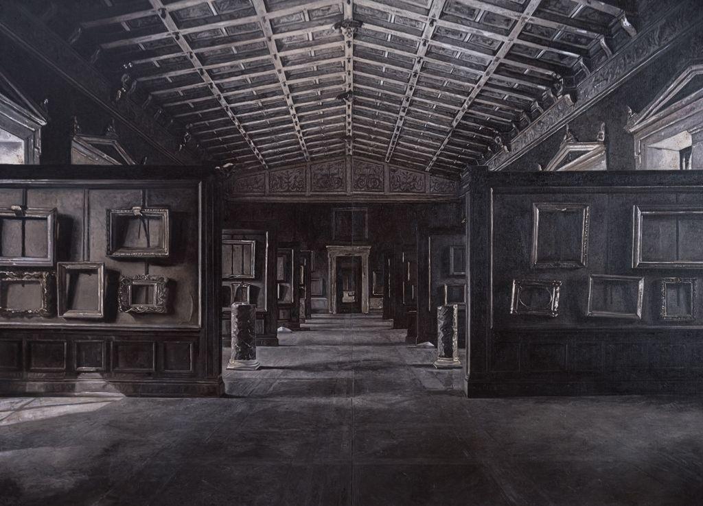 Josefina Guilisasti, Diego Martínez y Francisco Uzabeaga, Museo Hermitage (Russia), 2014, óleo sobre tela, 4, 1 x 3 mt. Cortesía de la artista