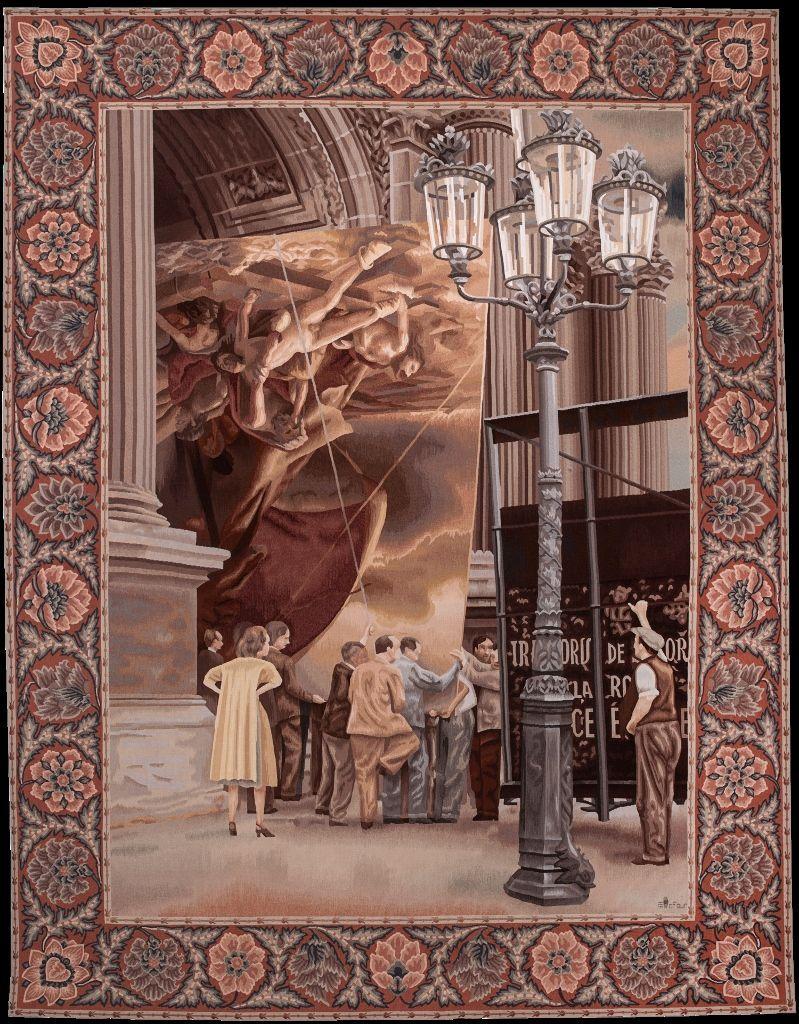 Josefina Guilisasti, La Balsa de la Medusa, tapiz tejido en los talleres de la Galería Robert Four, Francia, 3,26 x 2,50 mt. Cortesía de la artista