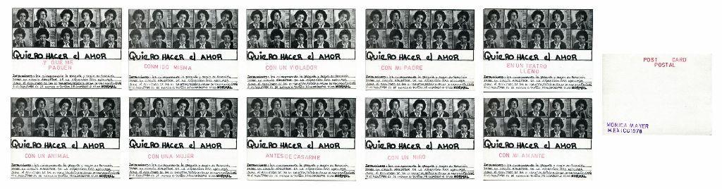 Mónica Mayer, Lo Normal, 1978, Impresión intervenida con sellos, 10,5 x 15 cm, 10 postales. Cortesía: HFFA