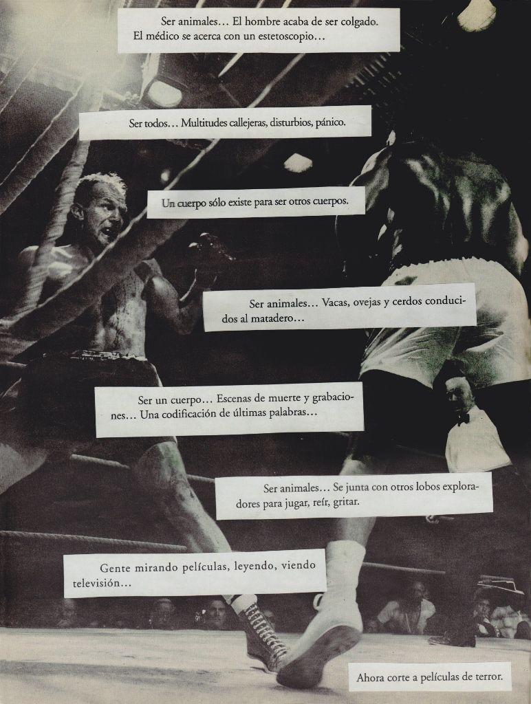 Daniel Guzmán, parte de ¿Quién nos encierra atemorizados en el tiempo?, cinco collages elaborados bajo el sistema aleatorio del escritor William S. Burroughs, que consiste en manipular y cortar al azar libros usados para obtener un nuevo texto. Cortesía: Museo del Chopo