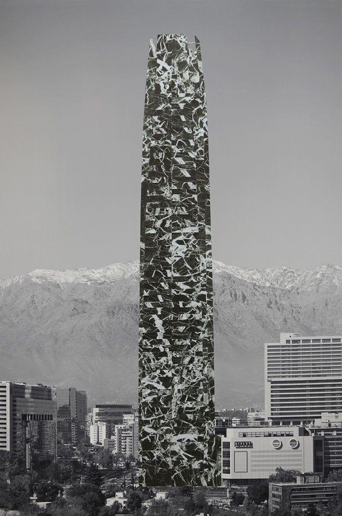 Patrick Hamilton. Proyecto de arquitecturas revestidas para la ciudad de Santiago (Centro Costanera), 2013. Collage, fotografía en blanco y negro, papel contacto, 160 x 110 cm. Foto cortesía del artista.