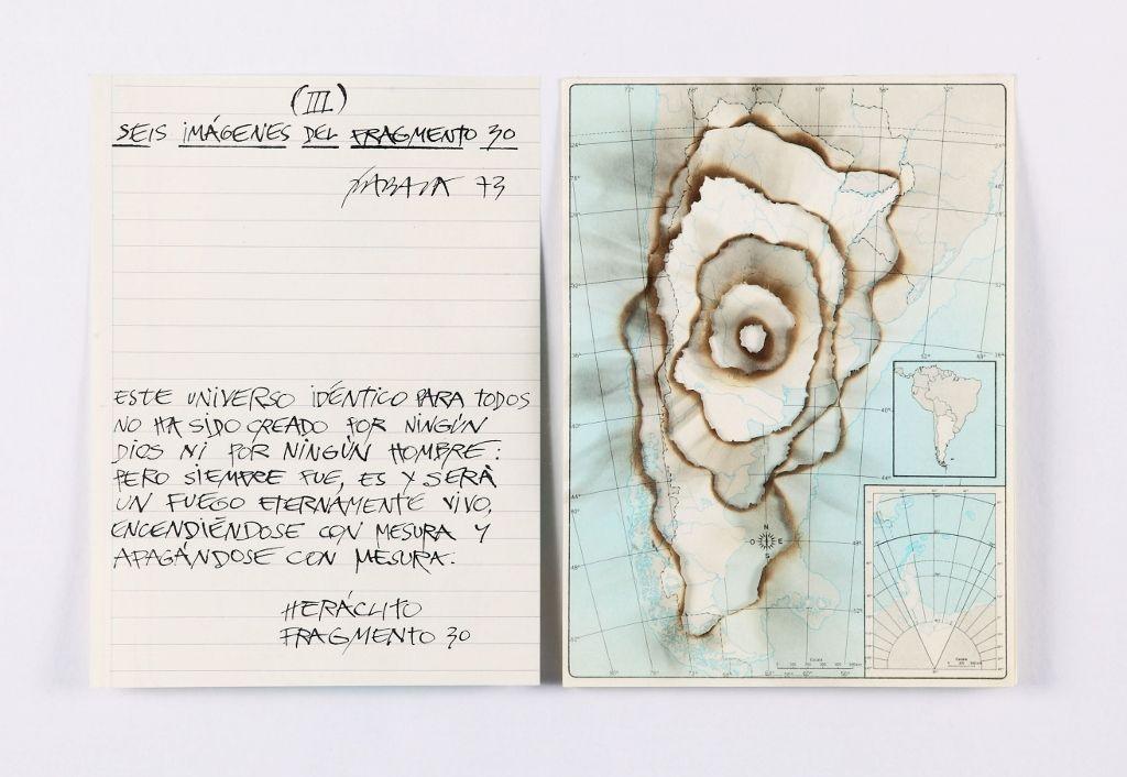 Horacio Zabala, Seis imágenes del fragmento 30 (Argentina) III, 1973, mapas impresos quemados y tinta sobre papel. Cortesía del artista y Henrique Faria, Nueva York/Buenos Aires